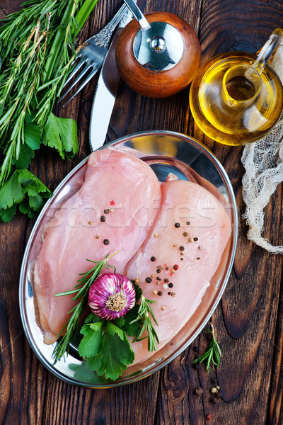 Surowy kurczaka filet przyprawy tabeli kuchnia Zdjęcia stock © tycoon