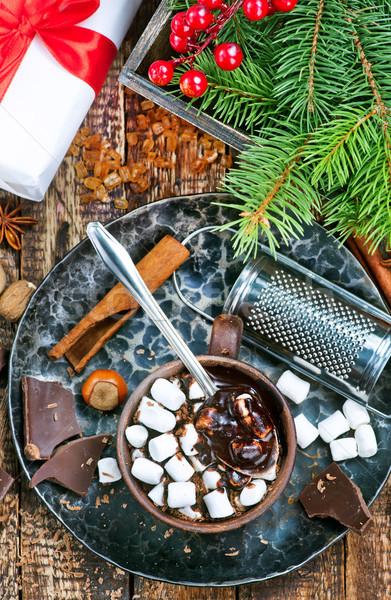 Csokoládé mályvacukor forró csokoládé csésze fa üveg Stock fotó © tycoon