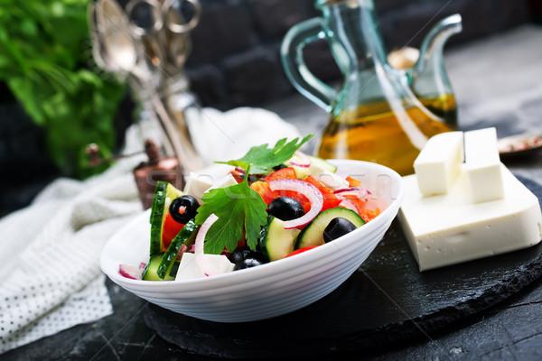 Görög saláta fehér tál zöldségek feta Stock fotó © tycoon