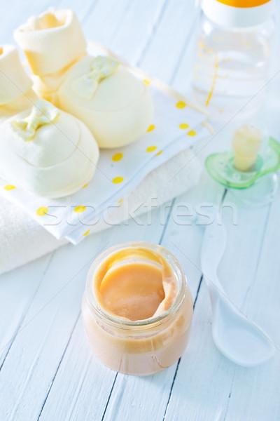 Nourriture pour bébés verre banque table bébé enfant Photo stock © tycoon