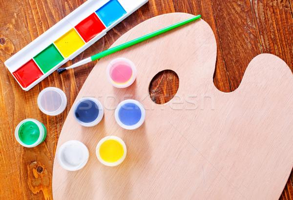 Malen Farbe Wasser Bildung grünen Werkzeuge Stock foto © tycoon