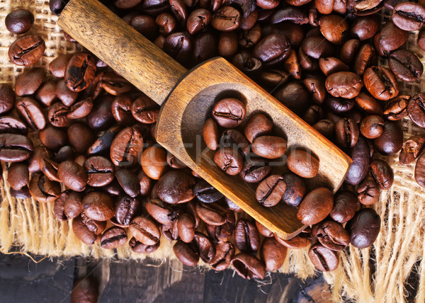 Photo stock: Grains · de · café · table · en · bois · couteau · étage · déjeuner · vintage