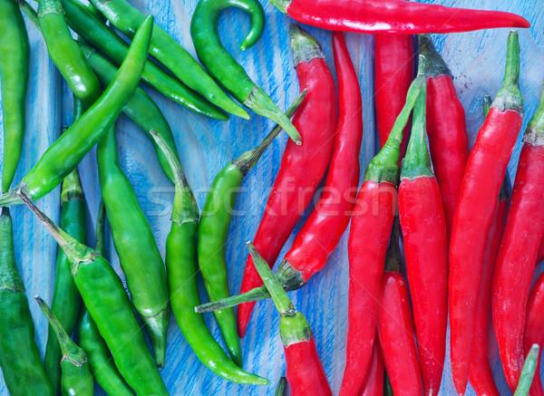 Stok fotoğraf: Kırmızı · biber · biber · mavi · taze · gıda · doğa