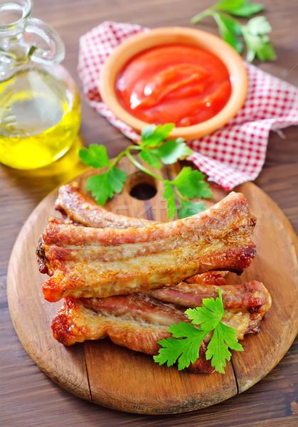 Pörkölt bárány steak barbecue étel edény Stock fotó © tycoon