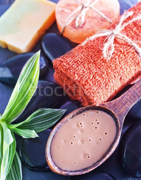 Objecten bad houten tafel bloem koffie schoonheid Stockfoto © tycoon