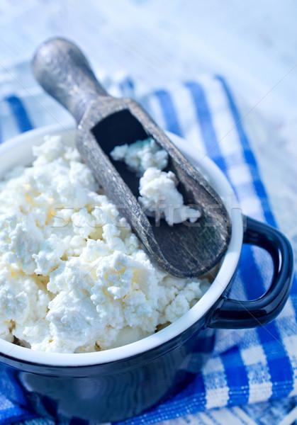 Foto stock: Casa · de · campo · azul · queijo · leite · prato · gordura
