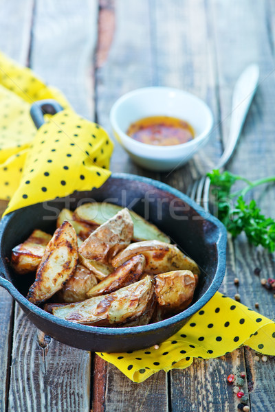 Foto stock: Frito · papa · pan · mesa · grasa · caliente