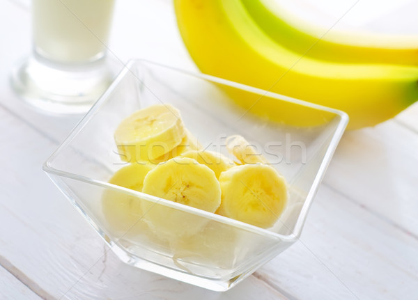Fresh banana in the glass bowl, banana and milk Stock photo © tycoon