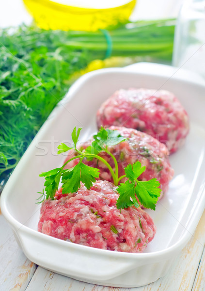 Raw meat balls in the white bowl Stock photo © tycoon
