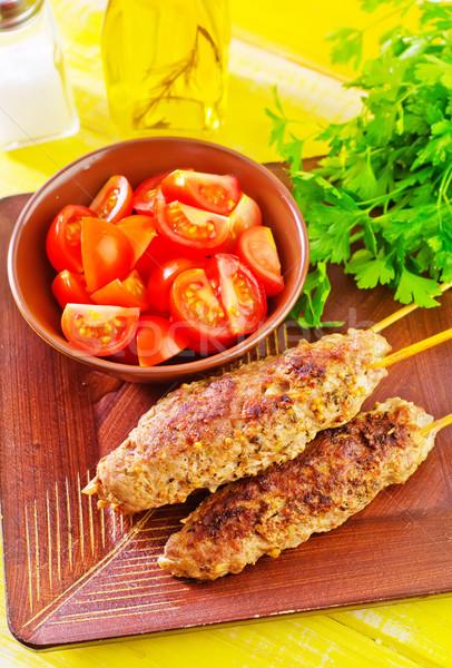 ケバブ 葉 ディナー 肉 脂肪 食べ ストックフォト © tycoon
