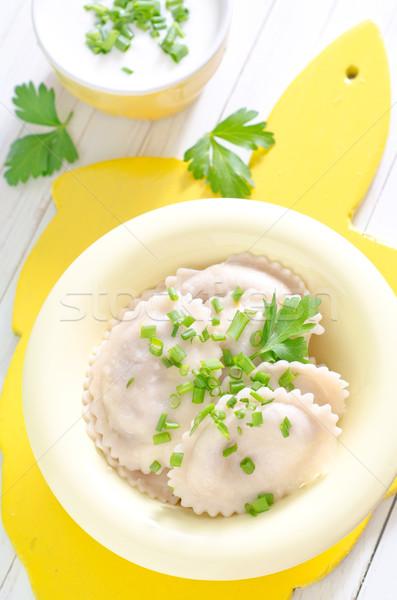 Folha restaurante carne copo branco cozinhar Foto stock © tycoon