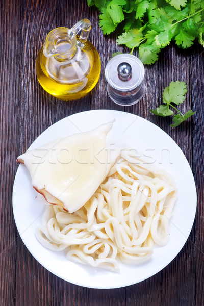 Сток-фото: кальмар · белый · пластина · рыбы · кухне