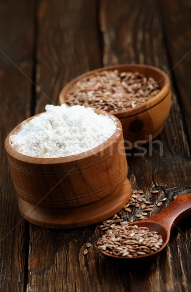 flax seed and flour Stock photo © tycoon