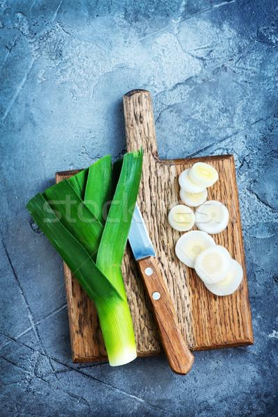 Pırasa ahşap bahar gıda sağlık arka plan Stok fotoğraf © tycoon