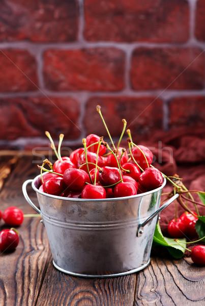 Fresche ciliegio rosso ciotola tavola alimentare Foto d'archivio © tycoon