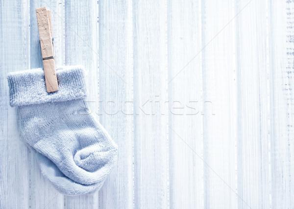 Baby sokken verjaardag frame Blauw brief Stockfoto © tycoon