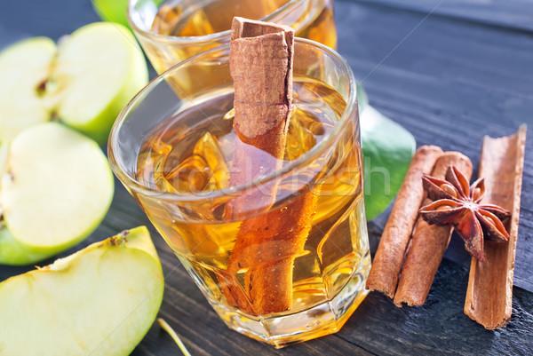 Elma elma şarabı tarçın cam doğa meyve Stok fotoğraf © tycoon