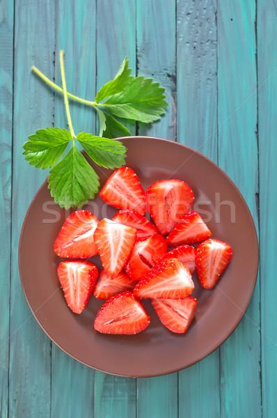 Truskawki żywności lata tablicy śniadanie vintage Zdjęcia stock © tycoon