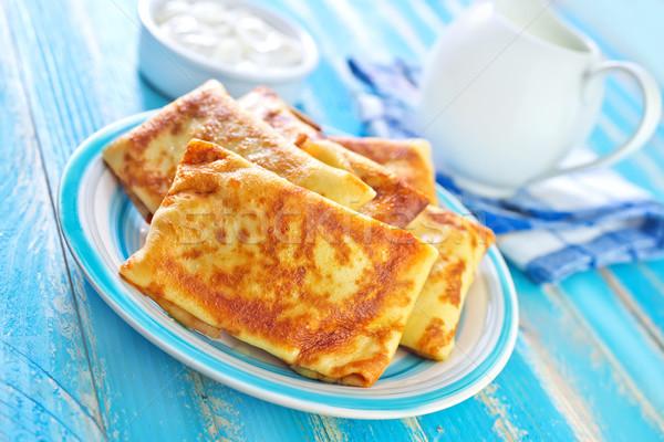 パンケーキ フルーツ チーズ 色 朝食 脂肪 ストックフォト © tycoon