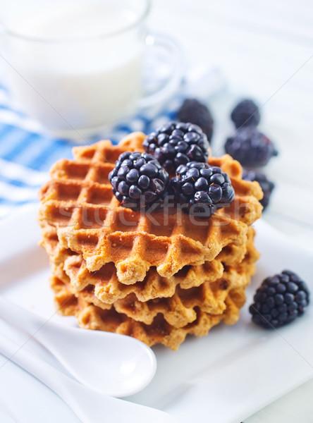Stockfoto: Wafel · voedsel · hart · chocolade · plaat · ontbijt