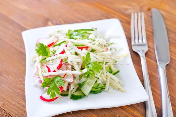 Salada comida fundo jantar vermelho café da manhã Foto stock © tycoon