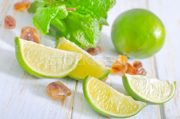 lime with mint and sugar Stock photo © tycoon
