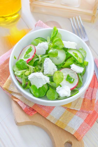 Salada queijo Óleo jantar prato garfo Foto stock © tycoon