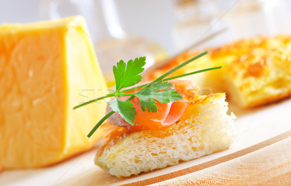 bread with salmon Stock photo © tycoon