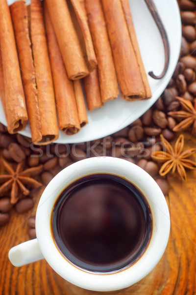 Fraîches café blanche tasse cannelle Photo stock © tycoon
