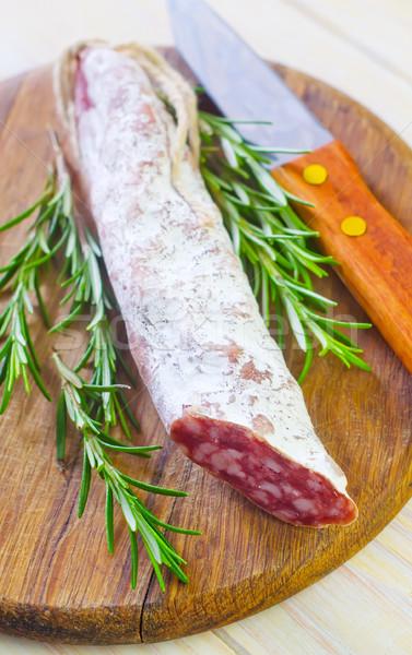 Salami alimentos rojo cuchillo grasa bordo Foto stock © tycoon