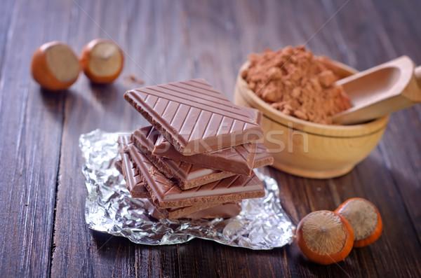 Chocolade hout tabel bar energie gebroken Stockfoto © tycoon