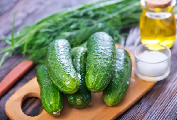 Vers komkommer Spice achtergrond keuken Stockfoto © tycoon