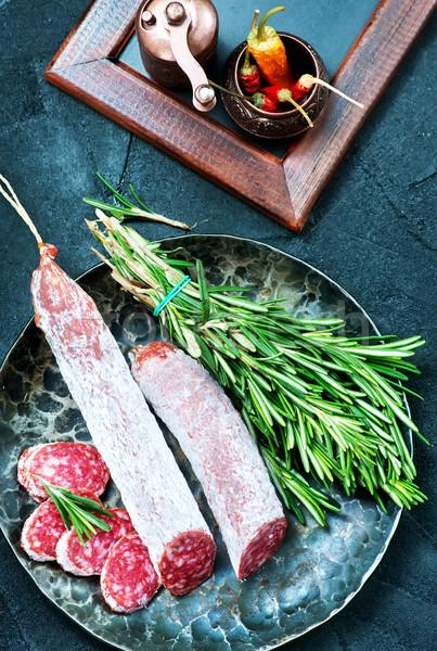 Szalámi aroma fűszer tábla étel háttér Stock fotó © tycoon