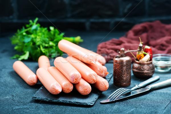 Worstjes zwarte tabel voorraad foto voedsel Stockfoto © tycoon