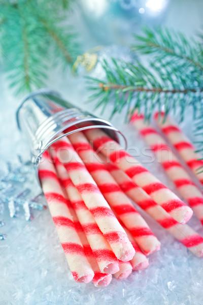 Keksz csövek karácsony csemege édes tea Stock fotó © tycoon