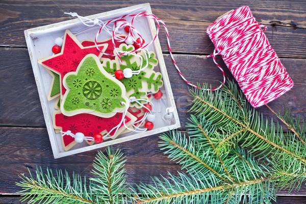 Noel dekorasyon renk ahşap masa ahşap kar Stok fotoğraf © tycoon