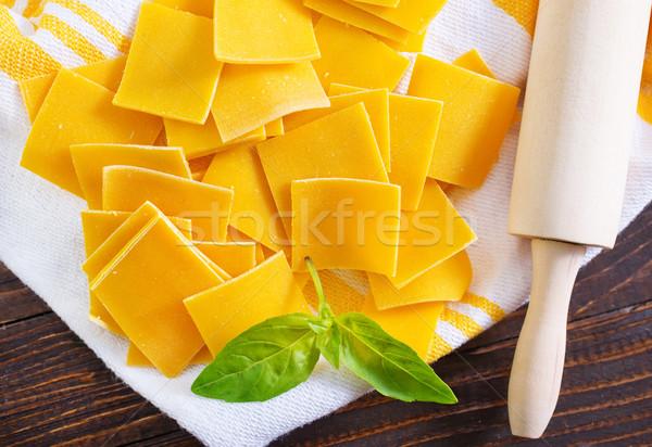 Foto d'archivio: Pasta · greggio · tavola · cucina · italiana · alimentare · legno