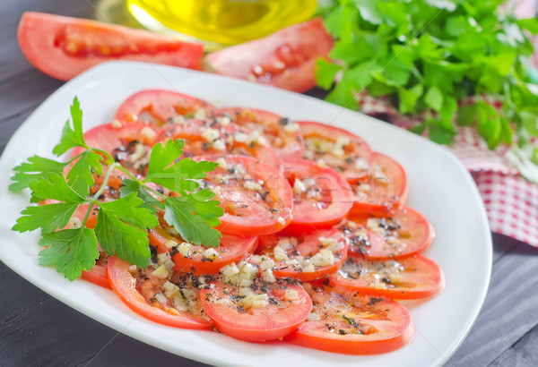 томатный базилик чеснока продовольствие оранжевый Салат Сток-фото © tycoon