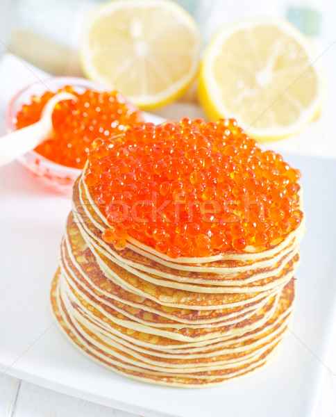 Caviar alimentaire orange rouge plaque Photo stock © tycoon