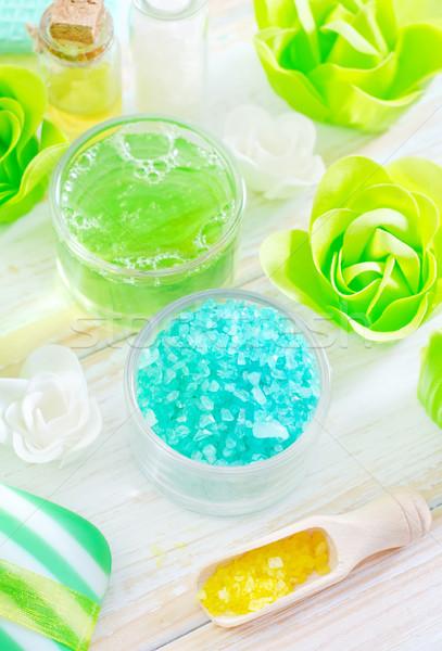 Zeezout zeep schoonheid Blauw spa witte Stockfoto © tycoon