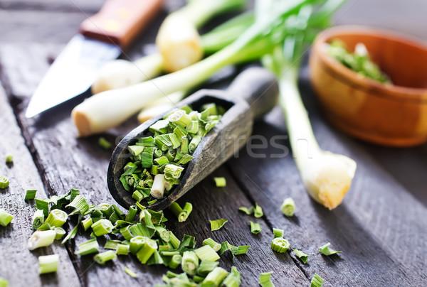 зеленый лук высушите ножом таблице продовольствие фон Сток-фото © tycoon