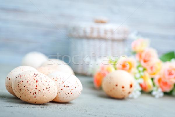 Ostern Ostereier Blumen Textur Holz home Stock foto © tycoon