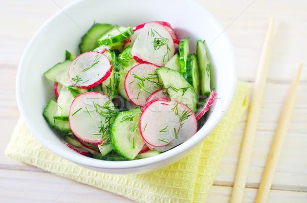 Stock photo: fresh salad with cucumber and radish