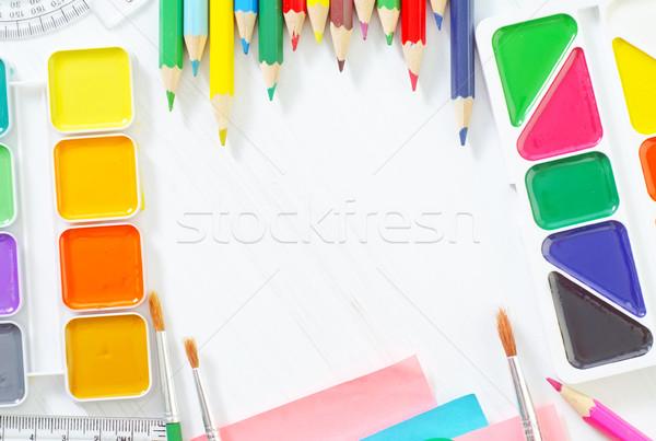 школьные принадлежности бизнеса служба бумаги пер студент Сток-фото © tycoon