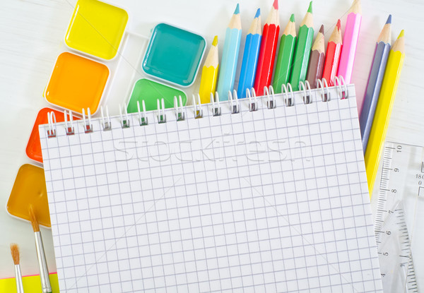 Material escolar escritório textura madeira escolas caneta Foto stock © tycoon