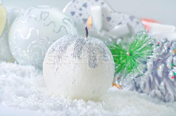 Vela outro natal decoração caixa espaço Foto stock © tycoon