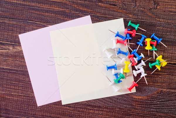 Kleur papier houten frame Blauw informatie Stockfoto © tycoon