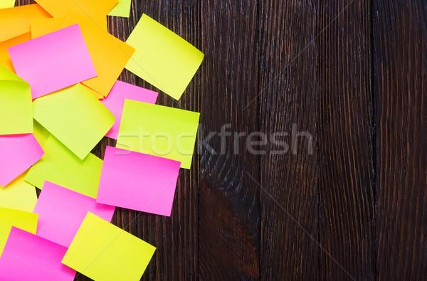 Stockfoto: Kleur · nota · houten · tafel · kantoor · papier · schrijven