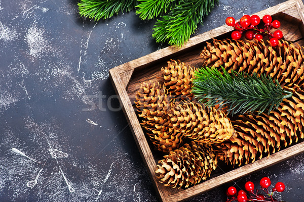 Natal decoração ramo tabela madeira projeto Foto stock © tycoon
