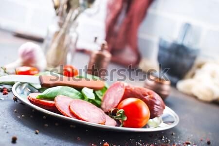 Gerookt worst Spice vers basilicum kaas Stockfoto © tycoon